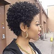 女性 人間の毛のキャップレスウィッグ ブラック ショート丈 カーリー ピクシーカット