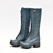 女性用 靴 レザー 冬 コンフォートシューズ コンバットブーツ ブーツ ウォーキング ローヒール ラウンドトウ 編み上げ のために カジュアル アウトドア オフィス&キャリア ブラック 海軍 バーガンディー