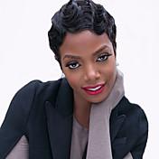 Mujer Pelucas sintéticas Sin Tapa Corto Ondulado Negro Azabache Peluca afroamericana Para mujeres de color Peluca natural Peluca de