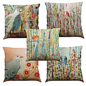 5 PC Lino Natural/Orgánico Cobertor de Cojín Funda de almohada,Floral Sólido Con Texturas A cuadrosEuro Estilo playero Casual Retro