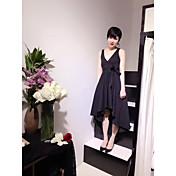 Mujer Línea A Vestido Noche Bonito,Un Color Escote en Pico Asimétrico Sin Mangas Algodón Primavera Verano Tiro Medio Microelástico Medio