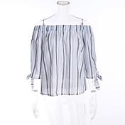 レディース お出かけ 春 夏 Tシャツ,シンプル ボートネック ストライプ コットン 半袖