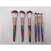 6Sistemas de cepillo Cepillo para Colorete Pincel para Sombra de Ojos Pincel para Labios Cepillo Corrector Cepillo para Polvos Cepillo