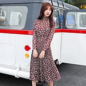 Mujer Línea A Vestido Ropa Cotidiana Encanto,Otros Cuello Barco Hasta el Gemelo Manga Larga N/A Verano Alta cintura Rígido Medio