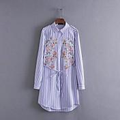 Feminino Solto Camisa Vestido,Para Noite Casual Simples Moda de Rua Sólido Listrado Colarinho de Camisa Acima do Joelho Manga LongaSeda