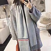 新しい秋と冬の韓国語バージョンソリッドカラーステッチストライプ幅のスカーフ野生のスカーフは、長い段落女子学生を縁取られました