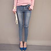 Mujer Moderno Media cintura Eslático Ajustado Pantalones,Lápices Color sólido Color puro