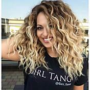 Mujer Pelucas sintéticas Medio Rizado Marrón Rubio Pelo Ombre Raíces oscuras Raya en medio Peluca natural Pelucas para Disfraz