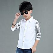 Para Meninos Camisa Casual Listrado Primavera Algodão Manga Longa Regular