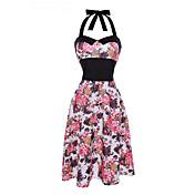 Mujer Vintage Corte Swing Vestido Floral Midi