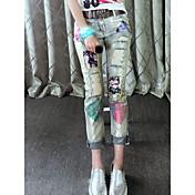 Mujer Clásico Media cintura Rígido Ajustado Pantalones,Otros N/A Primavera Otoño