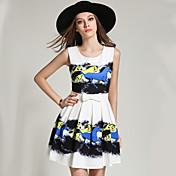 サイン夏新しいヨーロッパとアメリカのファッション印刷ウエストドレスプリーツスカートサブボトミング
