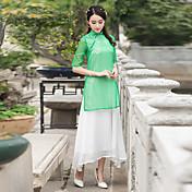 春と夏の2017新しい中国風の手描きの無地リネンドレスの妖精に署名