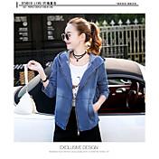 レディース 日常 春 デニムジャケット,シンプル カジュアル フード付き ソリッド ショート レザー 長袖