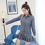 縦縞のラペル長袖ドレスプリーツスカートの新しい韓国のバージョン2017は薄かった