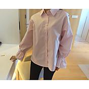 韓国の甘いおかしいライン年齢女の子ピンクトランペット袖シャツシャツ女性