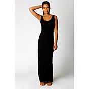 Mujer Corte Bodycon Vestido Noche Simple,Un Color Escote Redondo Maxi Sin Mangas Algodón Otoño Tiro Medio Microelástico Medio