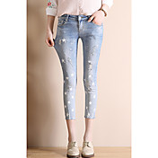 Mujer Clásico Media cintura Rígido Ajustado Pantalones,Color sólido N/A Verano