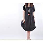 スポット2015夏新しい韓国の女性大きなヤードルーズカジュアルなラウンドネック半袖のドレスの折り畳み