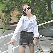 不規則なシャツの秋の韓国の学生緩いストラップレスの白いシャツの女性の長袖シャツに署名