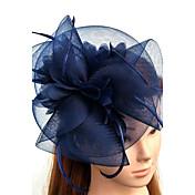 Tul / Pluma / Red Fascinators / Sombreros / Para la Cabeza con Flor 1pc Boda / Ocasión especial Celada