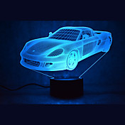atenuación del tacto del coche 3d llevó la luz de la noche 7colorful decoración atmósfera lámpara novedad iluminación de la luz
