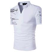 メンズ スポーツ カジュアル/普段着 お出かけ 夏 Tシャツ,シンプル ボヘミアン 活発的 スタンド プリント コットン 半袖 ミディアム