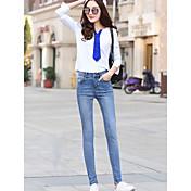 春のタイトなジーンズの新しい女性の韓国語バージョンに署名することは明るい色の長ズボンの足の鉛筆のズボンの学生薄いです