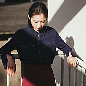 レディース ストリート カジュアル/普段着 秋 シャツ,ヴィンテージ シャツカラー 純色 詳細情報なし 長袖 ミディアム