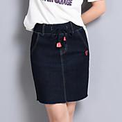 Mujer Clásico Ropa Cotidiana Sobre la Rodilla Faldas,Falda N/A Verano Color sólido