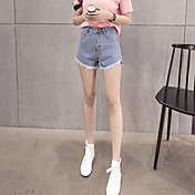 韓国の短い毛辺縁取られたワイド脚デニムショートパンツ女性潮基本モデルを通じて万年前に署名