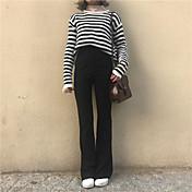 レディース オフィス/キャリア ミッドライズ ペンシルベイト 非弾性 スリム パンツ 純色 純色 セクシーレディ