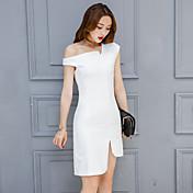 記号2017春新しいヨーロッパとアメリカの大きな気質のドレススカート不規則な斜めのドレス女性の春