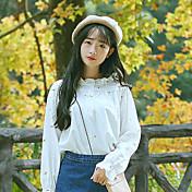 # 6171 estrellas hongo modelo de algodón dulce de la camisa de cuello bordado de flores frescas camisa floja de la hembra blanca