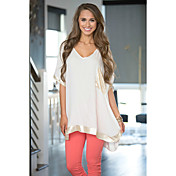 ebay aliexpressはヨーロッパとアメリカの女性を願っています'ラウンドネックステッチ、ゆるやかな半袖Tシャツの裾の円弧状のジャケット
