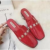 Mujer-Tacón Robusto-Confort-Zuecos y pantuflas-Informal-Microfibra-Negro Rojo