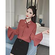 女性の本当のショット新しい韓国の長袖シフォンシャツシャツ女性の白いシャツシャツ秋の流入