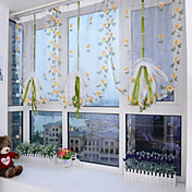 ペンシルプリーツ ワンパネル ウィンドウトリートメント デザイナー 欧風 地中海風 新古典主義, 刺繍 リビングルーム ポリエステル 材料 シアーカーテンシェード ホームデコレーション
