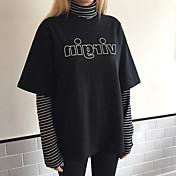 レディース カジュアル/普段着 Tシャツ,シンプル タートルネック ストライプ コットン 長袖