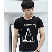 メンズ カジュアル/普段着 Tシャツ,シンプル ラウンドネック レタード コットン 半袖 薄手
