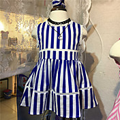 Vestido Chica de Casual/Diario A Rayas Algodón Verano