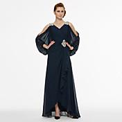 Corte en A Cuello en V Asimétrica Raso Vestido de Madrina - Cuentas Cinta / Lazo Plisado por LAN TING BRIDE®