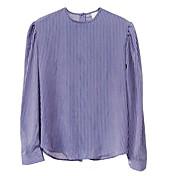 レディース カジュアル/普段着 シャツ,シンプル ラウンドネック ストライプ その他 長袖