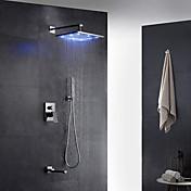 コンテンポラリー アールデコ調/レトロ風 近代の 壁式 レインシャワー 引出式スプレー LED 真鍮バルブ 二つ シングルハンドル二つの穴 クロム , シャワー水栓
