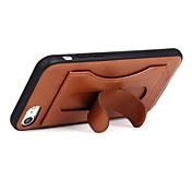 Funda Para iPhone 7 Plus iPhone 7 Apple Soporte de Coche con Soporte Funda Trasera Color sólido Dura piel genuina para iPhone 7 Plus