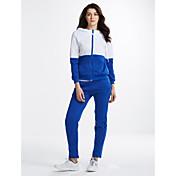 Feminino activewear Set Esportivo Fofo Estampa Colorida Retalhos Algodão Micro-Elástico Manga Longa Outono