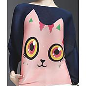 レディース カジュアル/普段着 Tシャツ,キュート ラウンドネック プリント ポリエステル 半袖