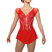 Vestido de patinaje artístico Mujer Chica Patinaje Sobre Hielo Vestidos Rojo Pedrería Lentejuela Alta elasticidad Rendimiento Práctica