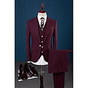 バーガンディー 純色 テイラーフィット スーツ - ノッチドラペル シングルブレスト 一つボタン