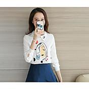 レディース カジュアル/普段着 シャツ,シンプル スタンド プリント コットン 長袖